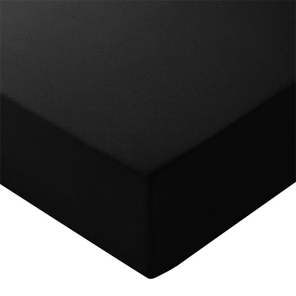 Microfibre Fitted Sheet, Double, Black