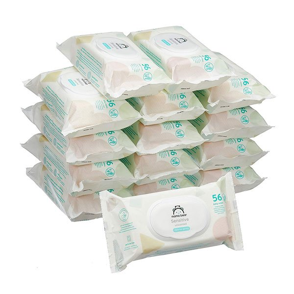 Mama Bear Sensitive Unscented baby wipes– Pack of 15